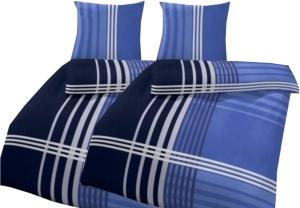 """4-teilige Bettwäsche """"Streifen blau"""", 135x200cm, Biber"""