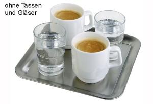 APS Edelstahl Tablett quadratisch 23x23cm