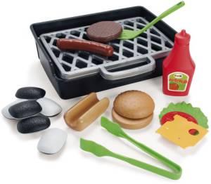 Spielzeug BBQ Tischgrill inklusive Burger- Hotdogset