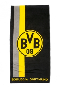 Borussia Dortmund Strandtuch Logo im Streifenmuster, 150x75cm