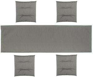 friedola tischl ufer und sitzkissen set grau mit streifen. Black Bedroom Furniture Sets. Home Design Ideas