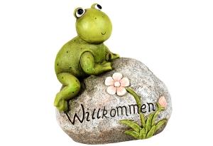 """Gartenfrosch auf Stein """"Willkommen"""""""