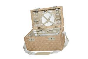Picknickkorb Textilgeflecht, 43x26,5x26,5cm