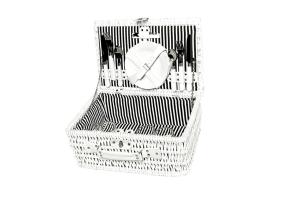 Picknickkorb weiß für 4 Personen, 44x29x20cm