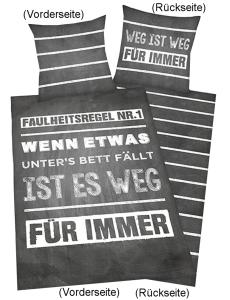 """Bettwäsche """"Sprüche - Faulheitsregel"""" 135x200cm"""