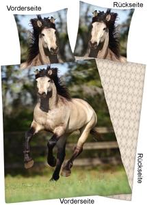 Pferde Foto-Bettwäsche Andalusier 135x200cm Flanell