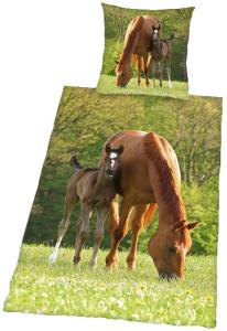 Pferde Foto-Bettwäsche Stute & Fohlen